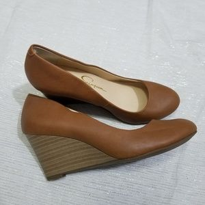 Jessica Simpson Sampson Brown Leather Wedges 5.5
